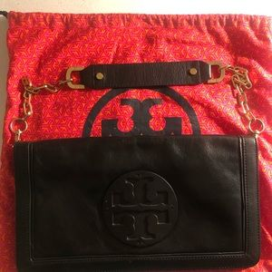 Tory Burch Black reva leather clutch